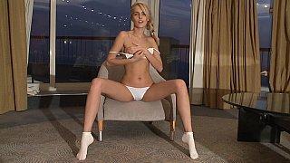 Skinny Sasha Blonde showing pussy