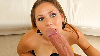 Sucking BIG cock and takes nice facial with pleasure