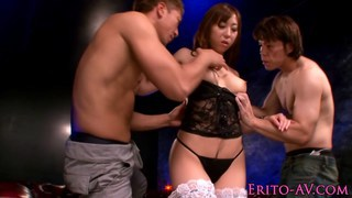 Japanese beauty threeway fucked and tasting jizz