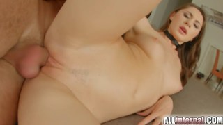 Gorgeous brunette rides dick and gets creamed