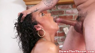 Busty ebony deepthroating and ballsucking