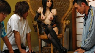 Dominant Japanese slut gets used by many guys