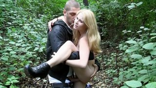 Blonde sexy girl naked in park