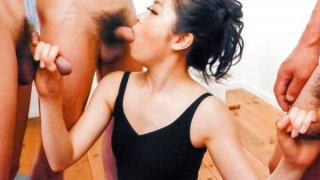 Rei Asamiya provides warm blowjob in hardcore