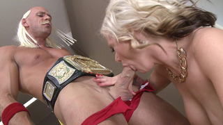 Busty MILF Kate Frost sucks wrestler's big hard dong