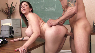 Sex hungry teacher Sara Jay has her student fuck her slit