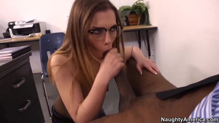Sasha Swift is giving hardcore deepthroat blowjob to her black friend