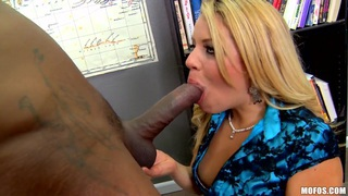 Adrea sucks a black student's big wang off
