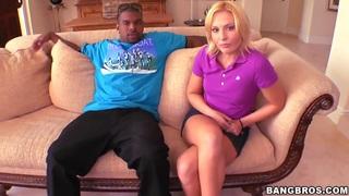 Adorable blonde Jamey Janes seduces black stud