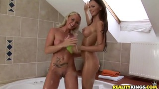 Caty Campbell and Cristina wash themselves in bathroom