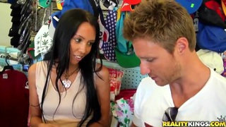 Black haired milf gets seduced by dirty blonde stud