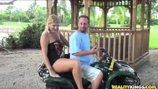 Horny mature blonde has lot of fun outdoor