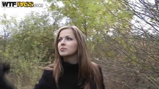 Wonderful teen slut Abi sucks cock for money in the forest
