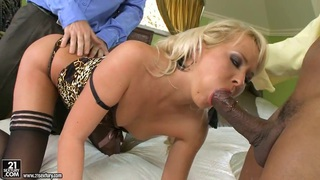 Blonde whore deliciously sucking a lucky man's cock with so much pleasure