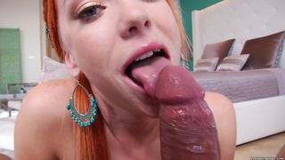 Dani Jensen spreads her lips round a stiff cock