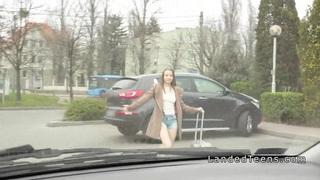 Teen hitchhiker sucks and fucks in a car