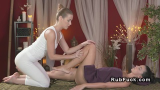 Great body brunette gets oil massage