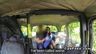 Busty nurse sucks big dick in a cab