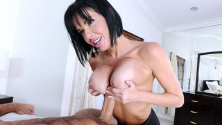 Veronica Avluv titfucks his fat cock and deepthroats it