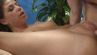 Gal receives oiled and rides big cock with passion