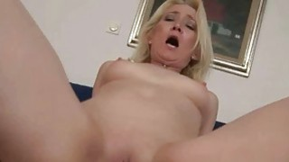 Granny giving blowjob and riding cock in POV