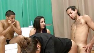 Sexual woman in clothes stare at man masturbating