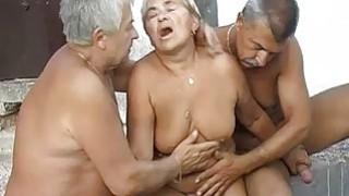 Granny fucking and masturbating with two grandpa