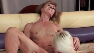 Hot granny and sexy young blonde have lesbian fun