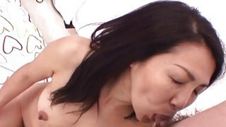 Mature Asian slut sucks as the young one masturbat