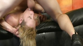 Skinny blonde tied up rough oral sex