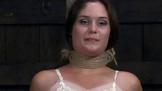 Tied up serf gets pleasuring her naughty twat