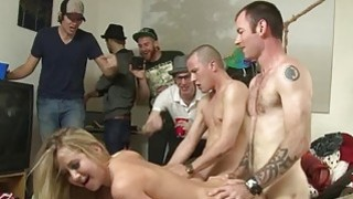Guys gangbang loving holes of their girlfriends