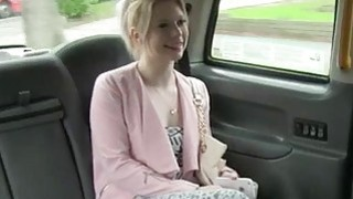 Beautiful amateur blonde passenger stuffed in the taxi