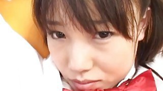 Asian teen sucks cock for cumshot while hands are tied