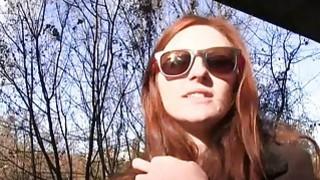 Redhead fucks stranger outdoors