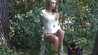 Veggie fucking teen caught outdoors