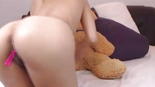 Cute brunette teen camgirl with sound vibrator