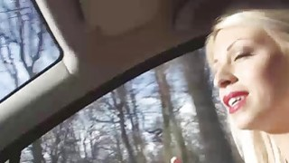Hot blonde Chloe Lacourt gets rough banging on the back seat