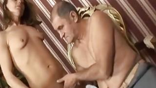 Nasty brunette slut fucks horny handicapped guy