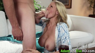 Busty cougar fucking a younger dude