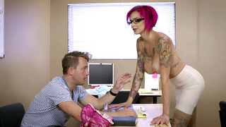 Anna Bell Peaks has her student nibble on her big pair of sweet tits