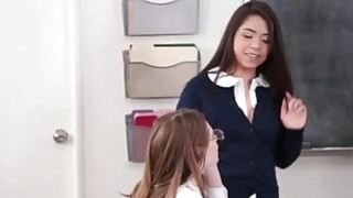Three gorgeous schoolgirls are having hot lesbian three way in classroom