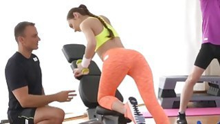 Skinny teen babe gets rammed after a sweaty workout