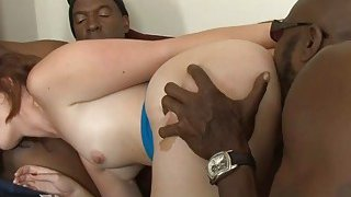 Naughty babe all her fuckholes railed by big black dicks