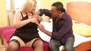 Busty plumper allows lover to play with her bosoms before they make love