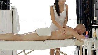 Skinny brunette teen masseuse pounded on massage table