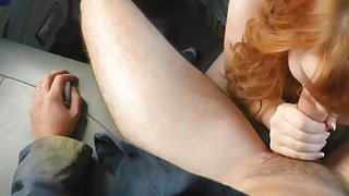 Flawless blonde fixing mess with blowjob on mad big cock tow truck driver