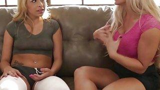 Crazy lesbian stepmom Holly Heart teaches teen Carmen Caliente lesbian sex