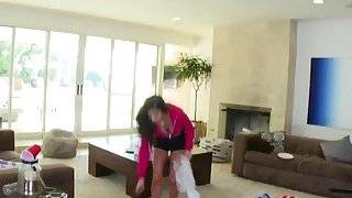 Young brunette Nina North made a mess in friend's house and now must be punished