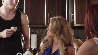 Janet Mason and her MILF friend Farrah Dahl satisfy handsome young stud